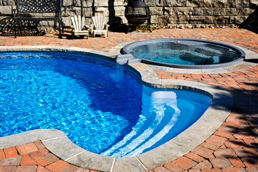 Why Not Incorporate A Hot Tub In Your Backyard Pool Ideas Pool Blue
